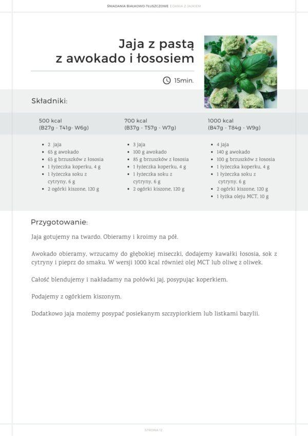 przykładowy przepis e-book śniadania białkowo-tłuszczowe